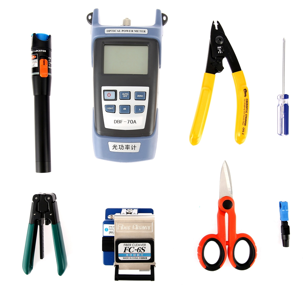 9 In 1 Fiber Optic FTTH Tool Kit FC-6S Fiber Cleaver Optical Power Meter 5km Visual Fault Locator Wire stripper Networking Tool tkdmr dgb0015km plastics red laser light fiber optic cable tester visual fault locator checker optical power meter free shipping