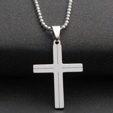 Minimalist Stainless Steel Cross Pendant Necklaces Silver Beads Chain Jesus Cruz Necklace For Women Men Christ Jewelry Crucifix(China)