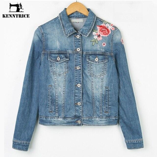 Kenntrice модные женские туфли 2017 вышитые джинсовая куртка женская женская с вышивка для девочек Джинсовая одежда женская джинсовая куртка пальто женское denim jacket куртка женская