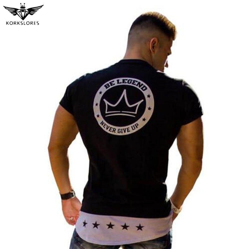 KORKSLORES 2017new Marque Fitness T-Shirt Hommes Mode Casual Shirt Bodybuilding T-shirt Gymnases Vêtements 100% Coton Tee