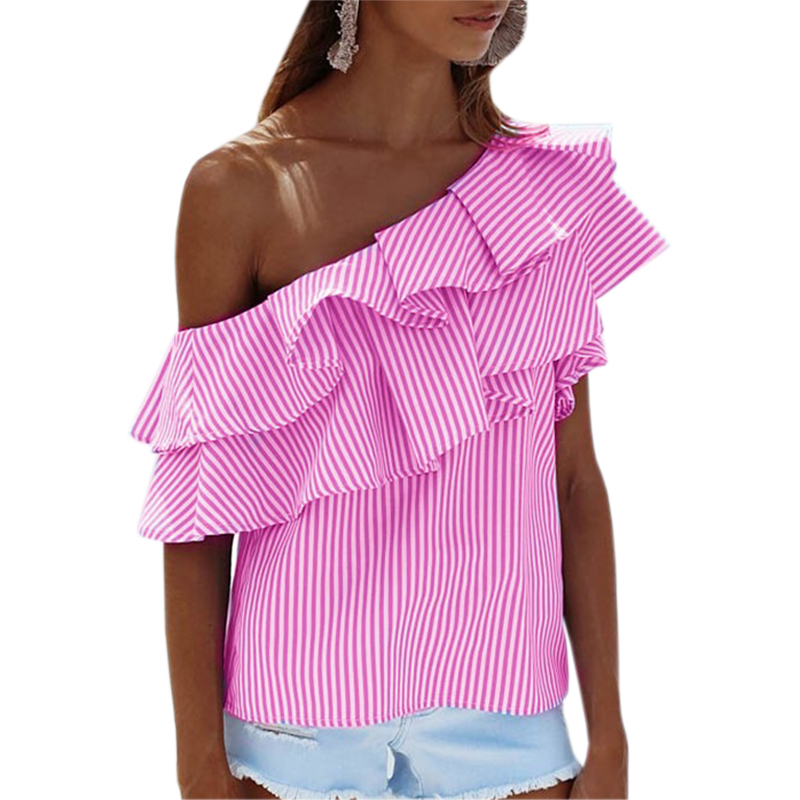Stack Up Ruffles Striped Blouse Summer Beach Girls Blusa Sexy Women Off Shoulder Shirts Plus Size Femininos Shirt Pink Top GV593