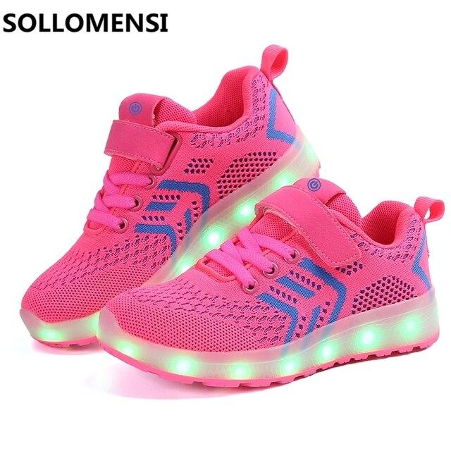 2017 ребенок Jazzy Junior для мальчиков и девочек со светодиодной подсветкой повседневная обувь для детей светящиеся кроссовки с USB аккумуляторная продажа товаров