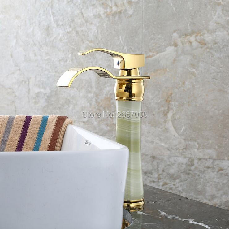Free Shipping Newly Solid Brass torneira cozinha with Marble Basin faucet single handle Gold finish basin sink mixers taps ZR804 free shipping newly wide waterfall spout vintage white marble body faucet black finish bathroom basin faucets brass taps gi662