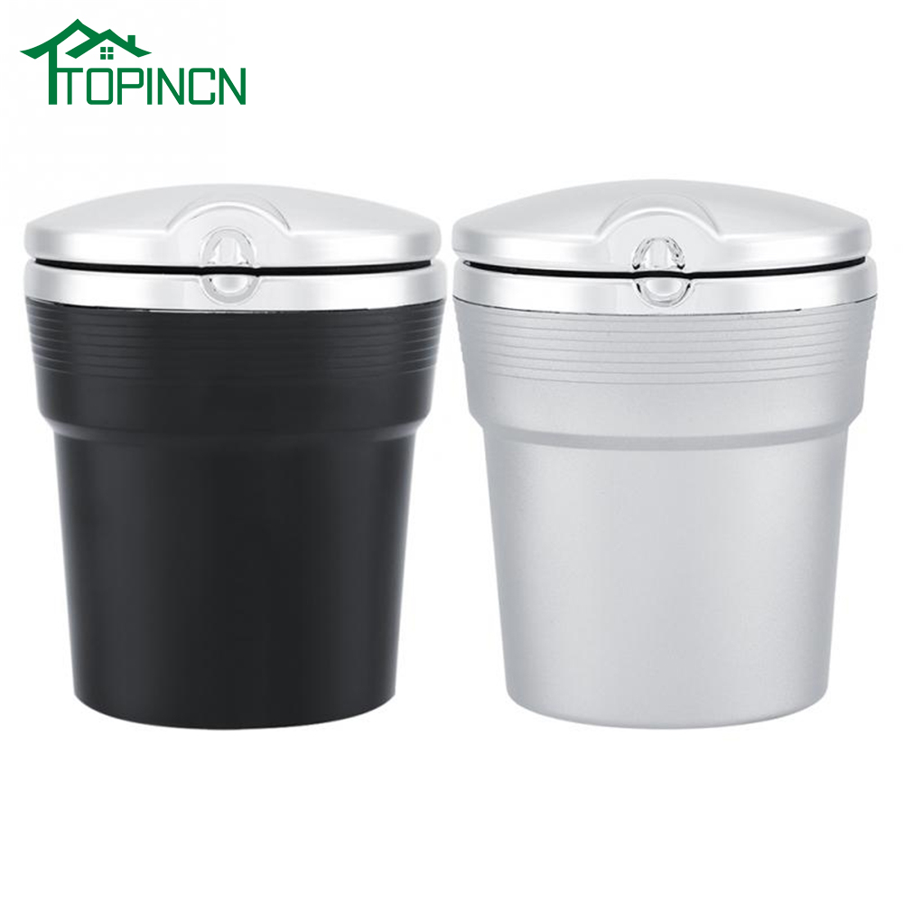 TOPINCN USB LED Car Ashtray Cigarette Smoking Cup Ash Holder Portable Stainless Auto Car Cigarette Ashtray Ash