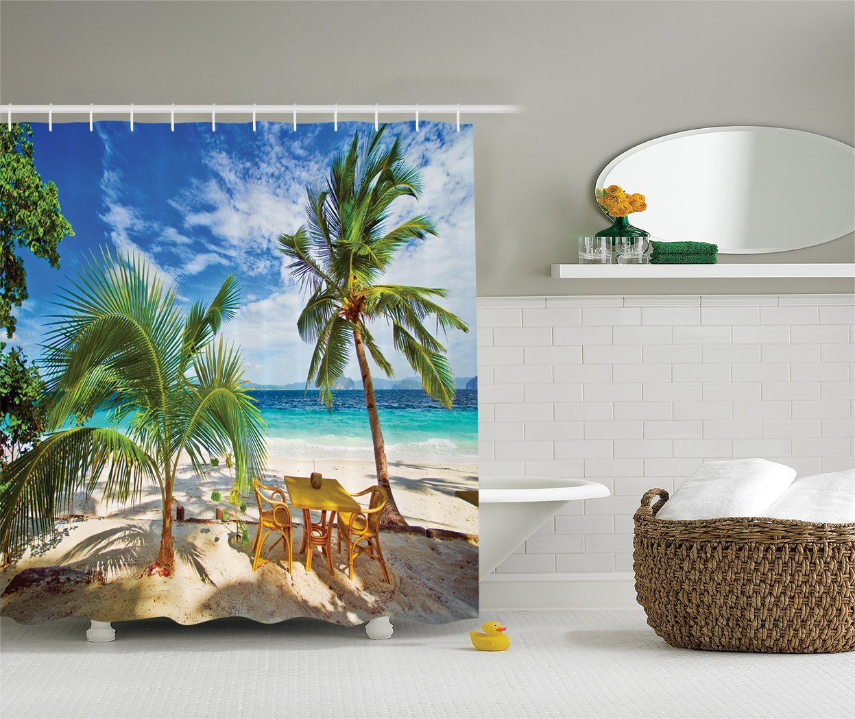 Palm shower curtain - Memory Home Beach Shower Curtain Sunlight Palm Trees Shadows Shades Print Waterproof Polyester Fabric Bathroom Shower