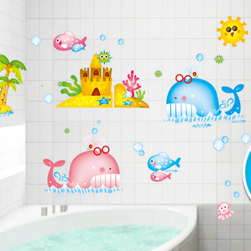 cute fish bathroom decor sticker baby shower decoration