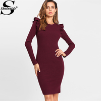 Sheinside Winter Round Neck Dress 2017 Frilled Embellished Shoulder Ribbed Knit Dress Women Burgundy Long Sleeve Bodycon Dress