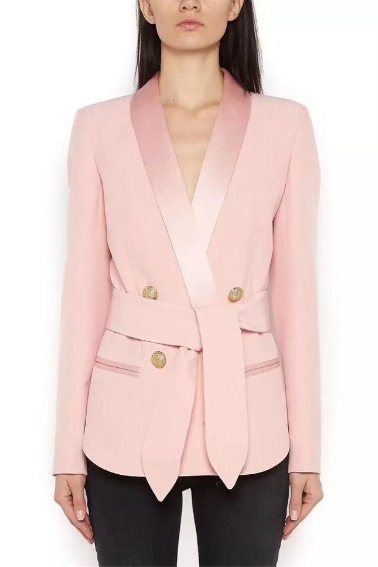 Élégant Manteau Mode Dentelle V Double Veste Mince Breasted Up Manches Office Cou Nouvelle pink Femmes Lady De Black Arrivée Vêtements Marque Longues Sexy tww0aXT