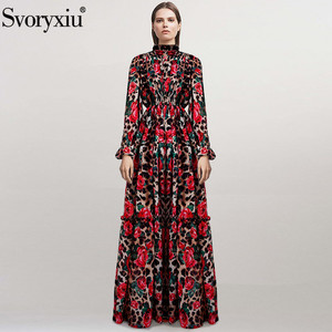 Svoryxiu Runway Autumn Long Sleeve Maxi Dresses Women's Vintage Rose Floral Leopard Printed Custom Big Size Robe Maxi Long Dress(China)