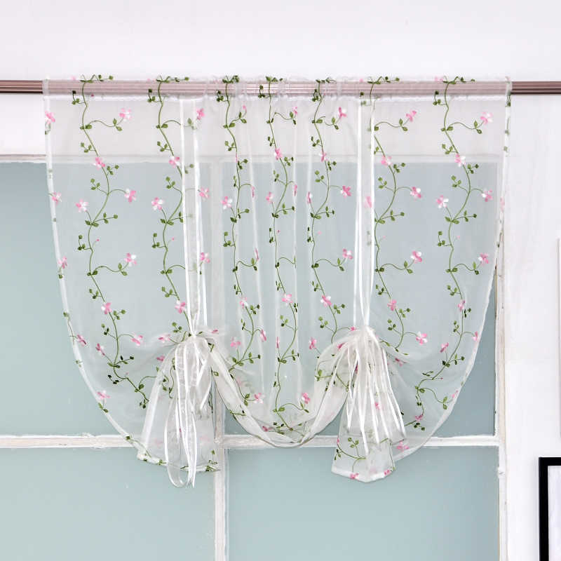 Window Treatments Embroidered Sheer Tulle Short Curtains for Kitchen Bedroom Living Room Home Decor