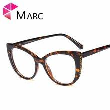 MARC Female 2019 Sunglasses Women Clear lens Cat Eye Glasses Plastic Diamond Leopard Print Luxury Brand UV400 Resin Design 1