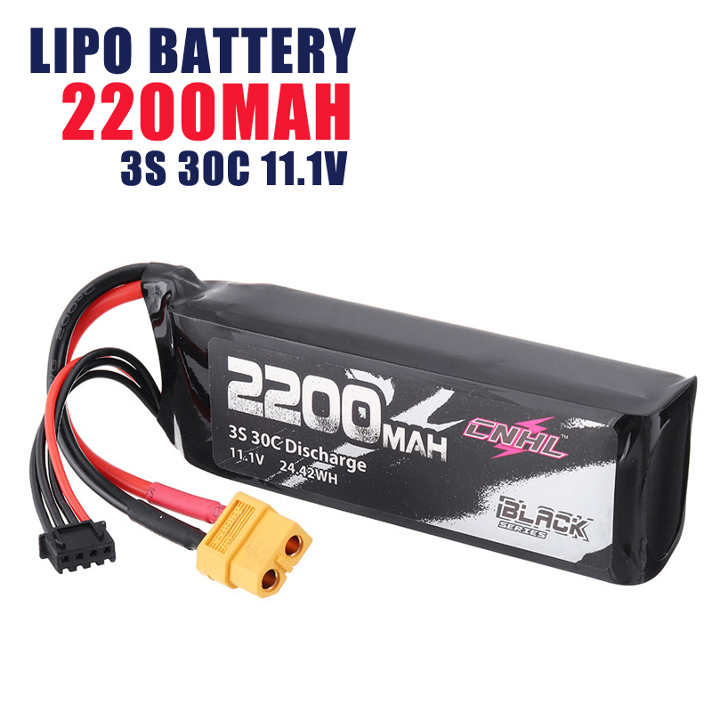 1/2/4 PCS CNHL BLACK SERIES <font><b>2200mAh</b></font> <font><b>3S</b></font> 30C 11.1V Rechargeable <font><b>Lipo</b></font> Battery 24.42WH XT60 Plug for RC Drone FPV Racing image