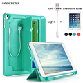 Case with Pencil Holder For New iPad 9.7 inch 2017 2018 A1893 A1954 ,PU Leather Smart cover Stand case Auto Sleep Wake+USB Cable