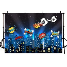 лучшая цена Mehofoto Comics Super Hero City Party Baby Children Photography Backgrounds Customized Photographic Backdrops For Photo Studio