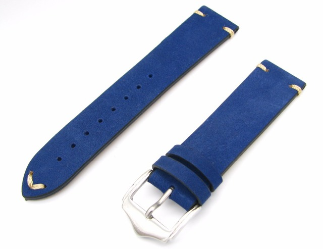 20 22 мм Мужчины Женщины Подлинной Натуральной Замши Ручной Стежок Синий Роскошные ремешки для наручных часов Ремешок Пояса Серебряный Полированный Пряжкой