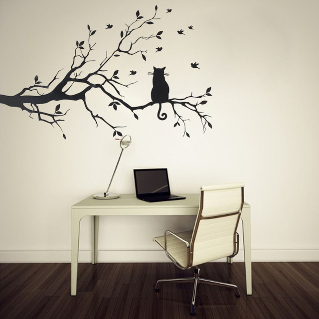 cat on tree branch birds wall sticker home decor tree wall decal