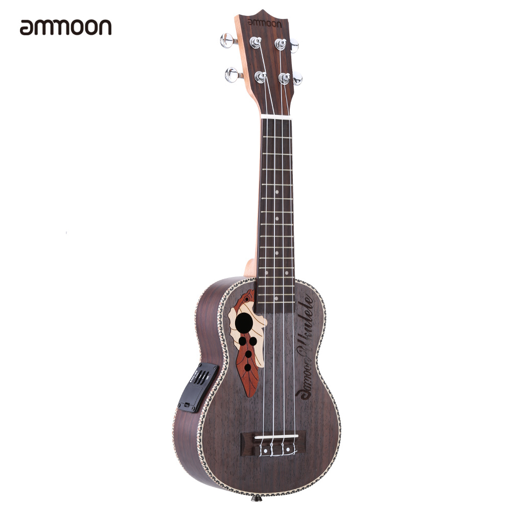 "High Quality ammoon Spruce 21"" Acoustic Ukulele 15 Fret 4 Strings Stringed Musical Instrument with Built-in EQ Pickup"