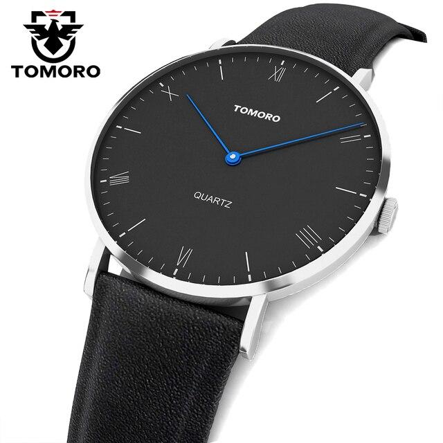 TOMORO Super Slim Minimalist Casual Watches Genuine Leather Analog Japan Quartz