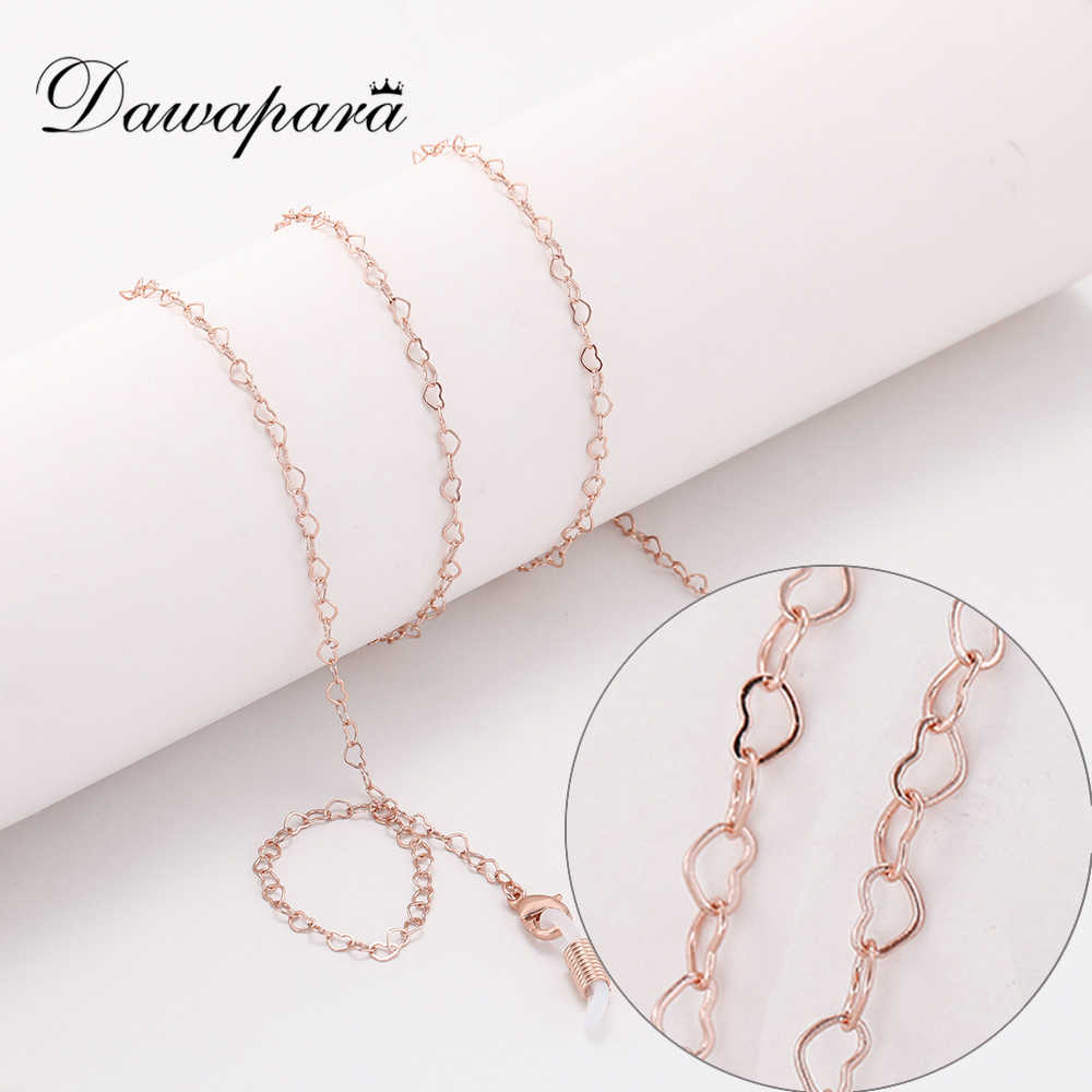 Dawapara Heart Glasses Chain Eye Glasses Accessories Women Rose Gold Silver Metal Sunglasses Chain Strap Lanyard Cord Holder