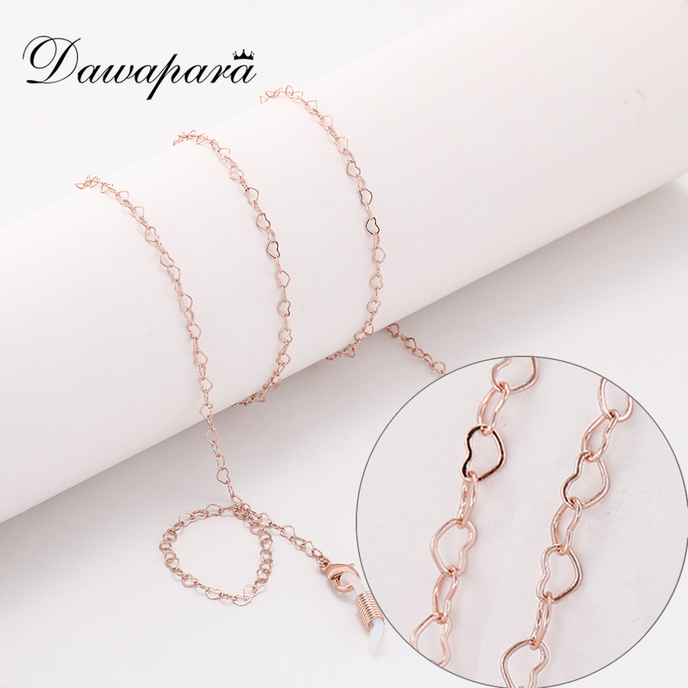 Dawapara Heart Glasses Chain Eye Glasses Accessories Women Rose Gold Color Metal Sunglasses Chain Strap Lanyard Cord Holder