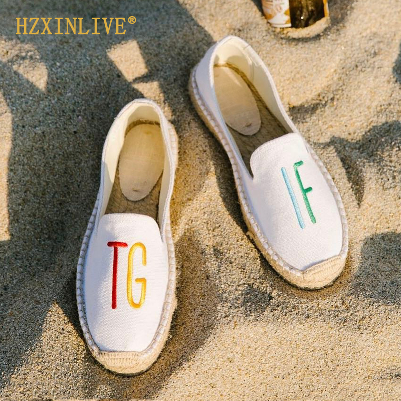 2019 Summer Embroidery TGIF Canvas Espadrilles Women Flats Insta Vacation Style Espadrille Platform Shoes Alpargatas De