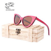 AN SWALLOW Lady Pink Skateboard Wood Cat Eye Handmade Wooden Frame Polarized Sunglasses UV400 Protection Women