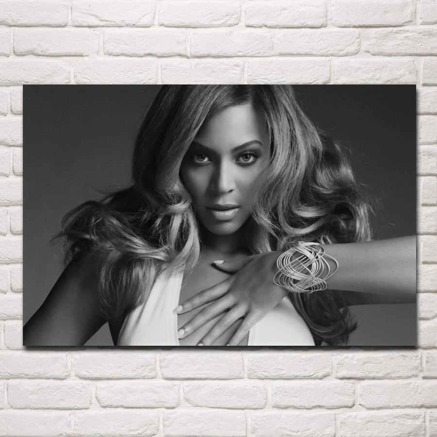 Music girl beautiful young black white beyonce portrait kd890 living room home wall art decor wood frame fabric posters prints in painting calligraphy
