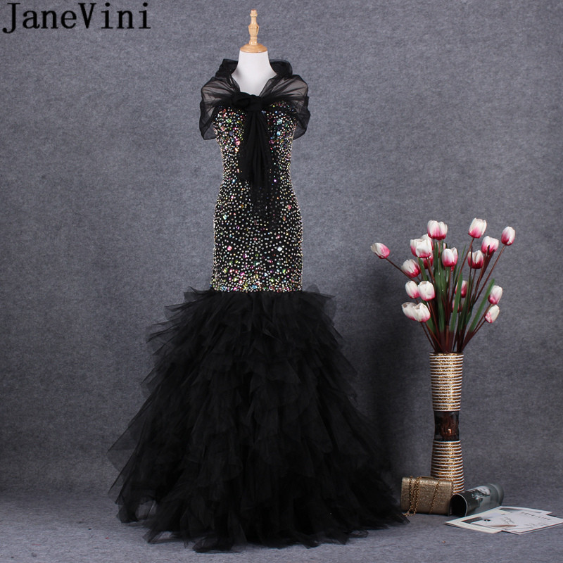 JaneVini Luxury African Prom   Dresses   Mermaid Colorful Crystal Rhinestones Long Beaded Elegant   Bridesmaid     Dress   for Wedding Party