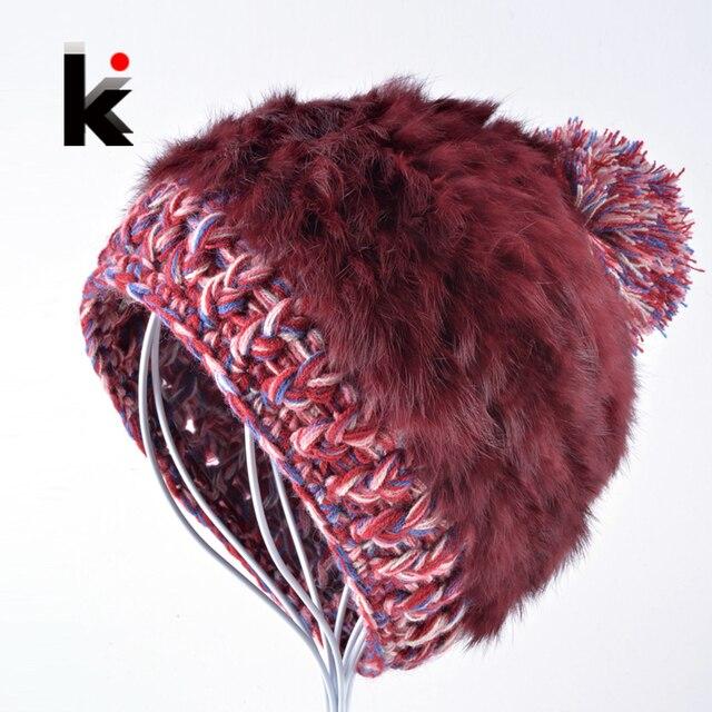 2017 Fashion women's rabbit fur winter beanie hat knitted ski cap female thick warm wool beanies caps rex hats for women