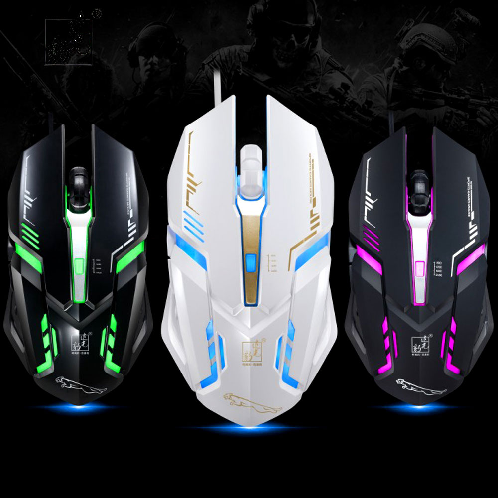 ZGB V17 Professional Wired Gaming Mouse 7-color Backlight Breath 2400DPI USB Optical Mouse Mice 6 Buttons For LOL Dota2 CS GO V6