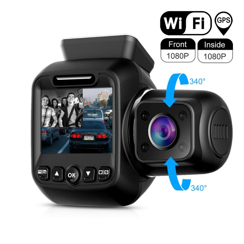 Pruveeo Dash Cam with Infrared Night Vision Built in GPS WiFi Dual 1080P Front and Inside