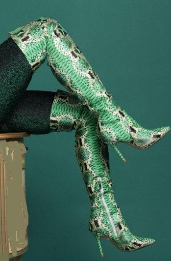 Bahar Yeni Kadın Yüksek Çizmeler Yeşil Python Yılan Derisi Sivri Burun Stiletto Topuk Seksi Sıkı Yüksek Çizmeler Gerçek Resimler