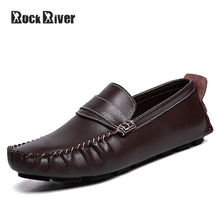 Genuine Leather Men Shoes Fashion Summer Breath Mens Shoes Casual Slip-On Men Loafers Flat Driving Shoes Mocassin Big Size 38-47