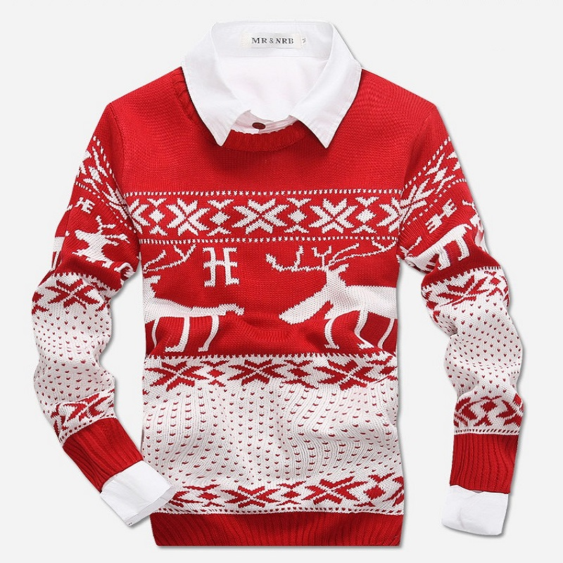 New 2018 Fahion Winter Warm Wool Knitted Mens Ugly Christmas Deer Sweater Crewneck Long Sleeve Reindeer Pullover Knitwear M-XXXL