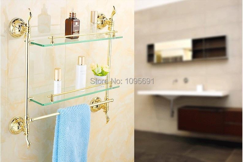European Classic Roman Style Gold Plated Brass Glass Shelf Bathroom Shelf Shelves Bathroom