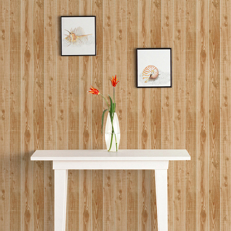 Chinese Style Wood Texture Stripes Living Room Bedroom Wallpaper Paper Wall Covering Rolls Soundproof Washable Modern
