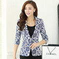 2016 new arrivals spring and autumn women blazer blue and white porcelain outerwear slim blazer print short women suit jacket