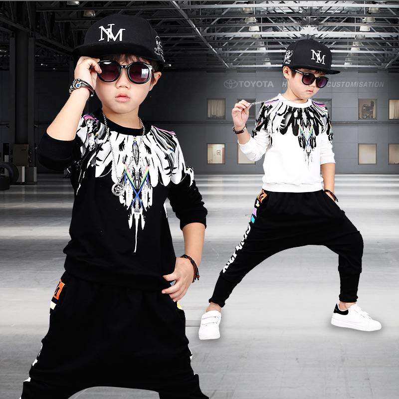 Fashion Boys Clothes Children Thicken Baby Clothing Sets Shirt Pant Print Kids Winter Fall Hip Hop Sports Set Clothes C044