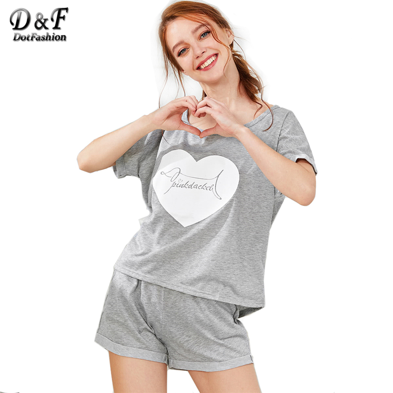 4ead065920f56 Dotfashion Heart Print Tee & Shorts PJ Set 2018 Summer Scoop Neck Short  Sleeve Pajama Sets Women Grey Letter Print Nightwear-in Pajama Sets from  Underwear ...