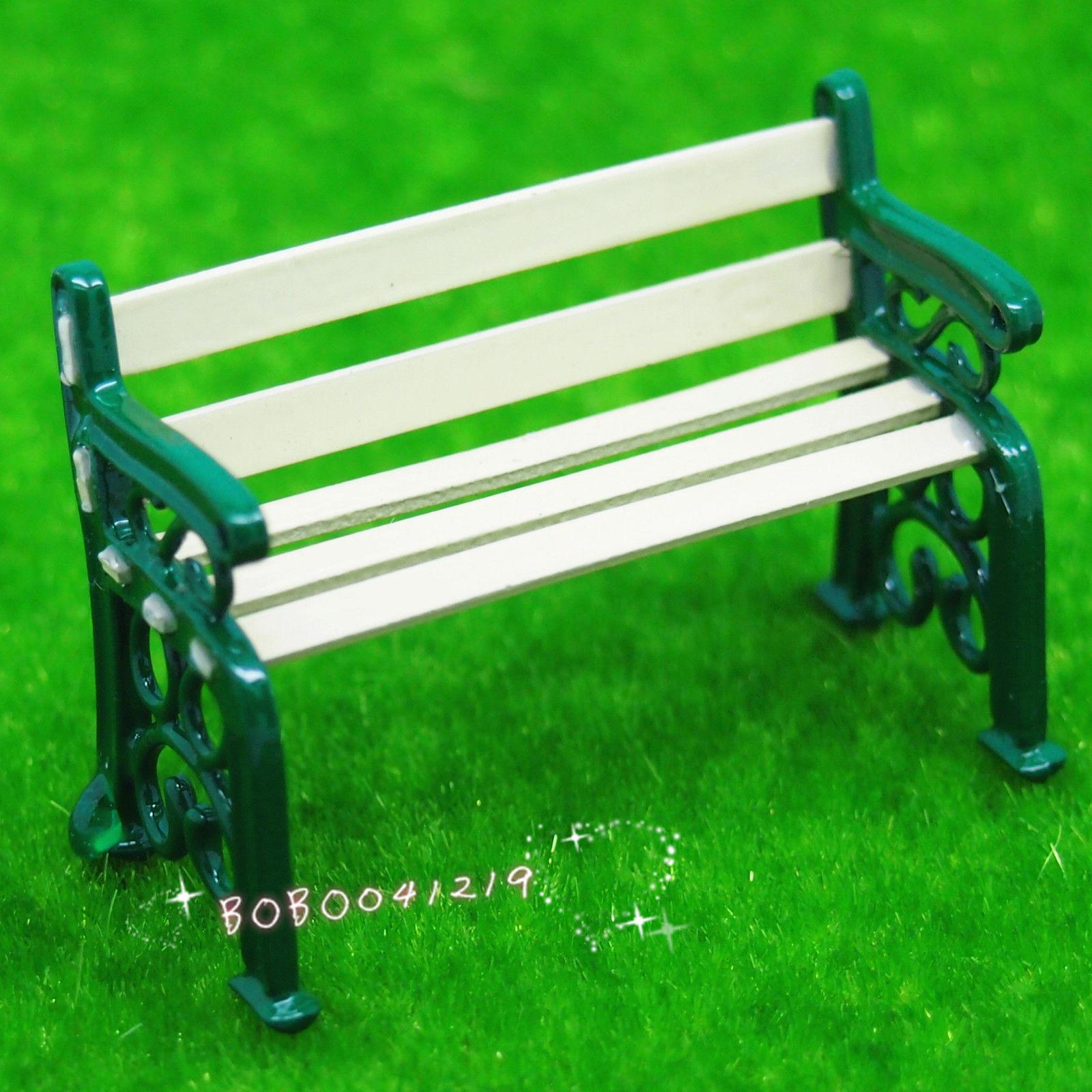 dollhouse miniatura super mini banco de madera y metal pequeo jardn verde lcm