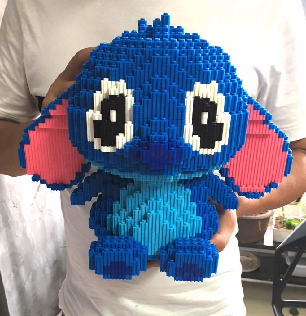 XIZAI Connection blocks Big size Cute Stitch brinquedos Model Cartoon Building Bricks Educational Kids Toys Girl