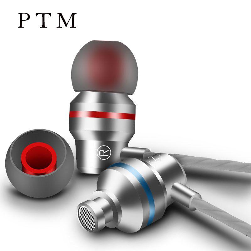 PTM Écouteurs Stéréo BASS In-Ear Métal Écouteur 3.5mm Jack Casques DJ XBS HiFi Oreille Téléphone Avec Microphone fone de ouvido