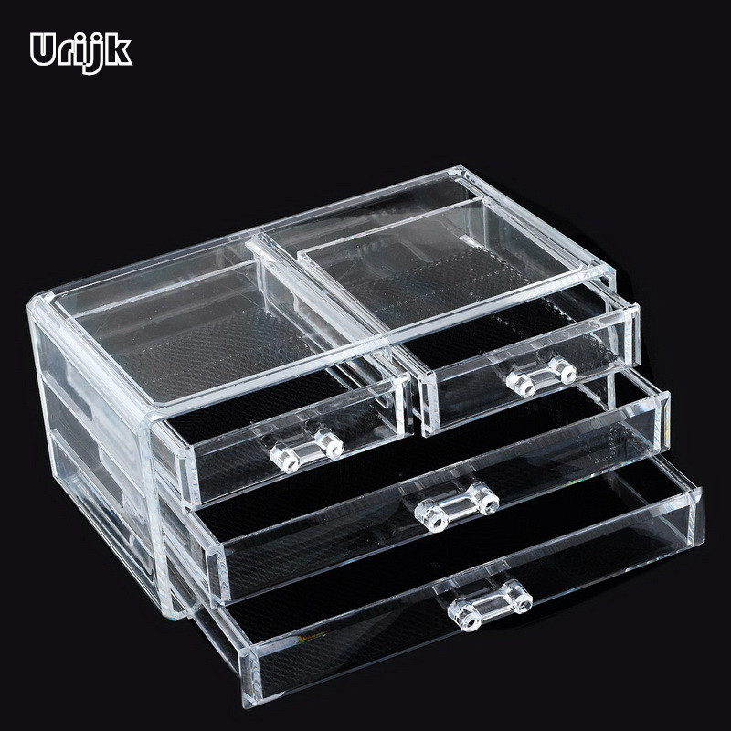 Plastic Makeup Organizer Brushes Holder Storage Box Women Home Lipstick Nail Cosmetic Accessories Makeup Tools Rack 3 Drawers