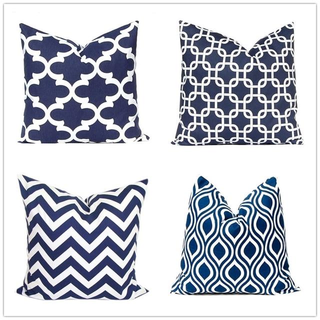 Navy Blue Geometric Cushion Cover Canvas Pillow Case Custom Stripe Decorative Sofa Throw Pillowcase 45