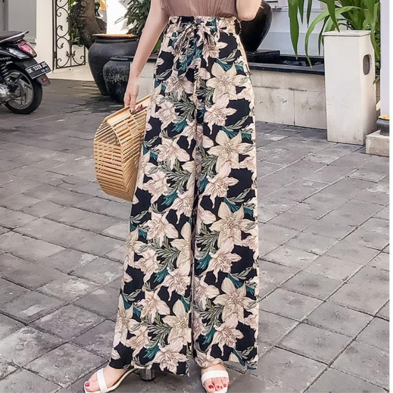Pottis Real shot of 2018 new holiday Thailand   pants   big yards Bohemia   wide     leg     pants   fashion beach   pants