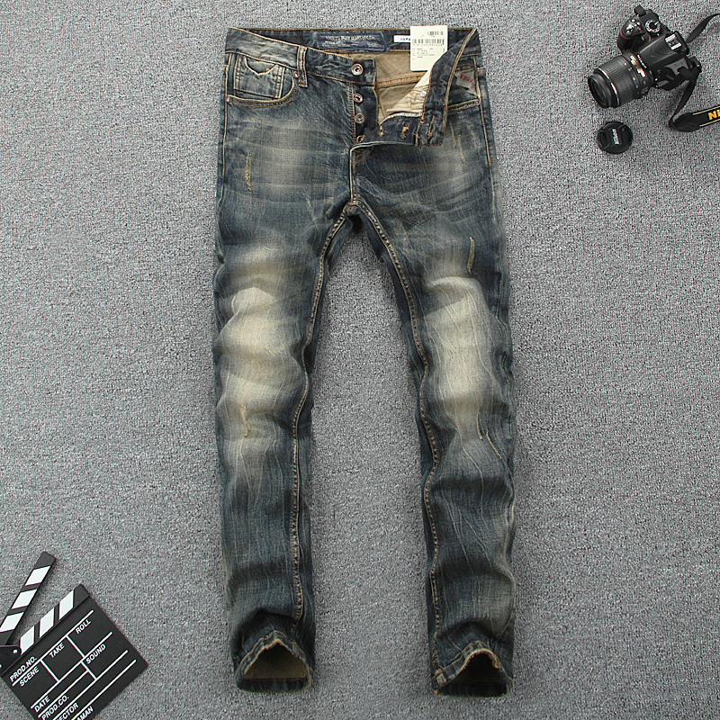 Italy Style Fashion Men Jeans Slim Fit Cotton Denim Buttons Pants Brand Classical Jeans Homme Elastic Vintage Long Jeans Men