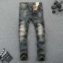 цена на Italy Style Fashion Men Jeans Slim Fit Cotton Denim Buttons Pants Brand Classical Jeans homme Elastic Vintage Long Jeans Men