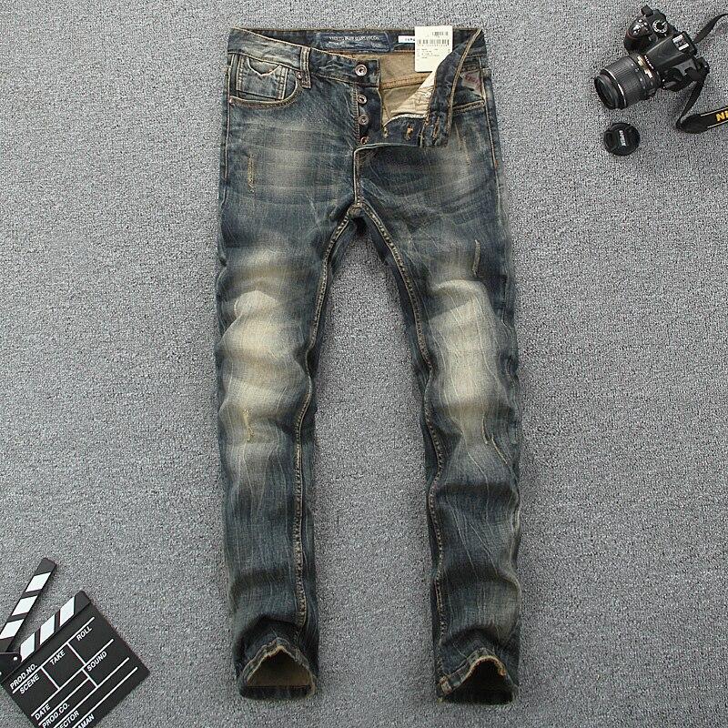 Italy Style Fashion Men   Jeans   Slim Fit Cotton Denim Buttons Pants Brand Classical   Jeans   homme Elastic Vintage Long   Jeans   Men