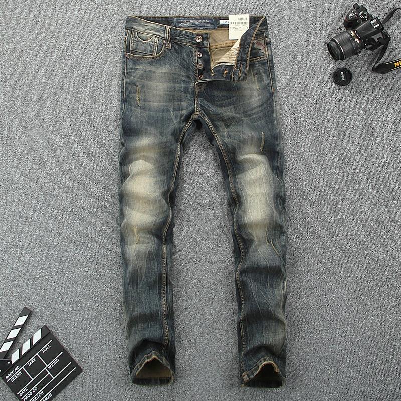 อิตาลีสไตล์แฟชั่นกางเกงยีนส์ผู้ชาย Slim Fit ผ้าฝ้าย Denim ปุ่มกางเกงยี่ห้อกางเกงยีนส์คลาสสิก homme ยืดหยุ่น Vintage ยาวกางเกงยีนส์ชาย-ใน ยีนส์ จาก เสื้อผ้าผู้ชาย บน AliExpress - 11.11_สิบเอ็ด สิบเอ็ดวันคนโสด 1