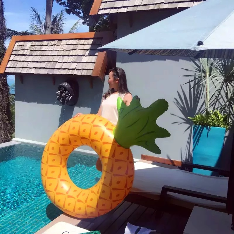 176*108CM Adult Inflatable Pineapple Swimming Rings Pool Float Toy Water Mattress Lifebuoy Beach Party Sea Swimming Circle